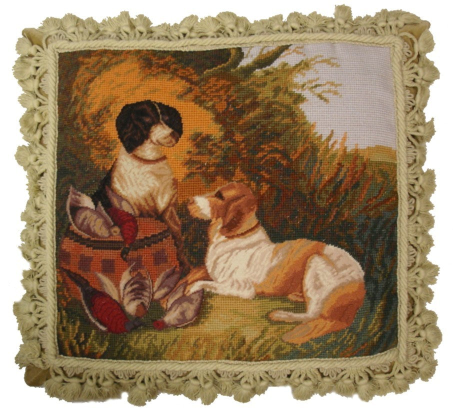 "Dogs and Birds - 16 x 18 "" needlepoint pillow"