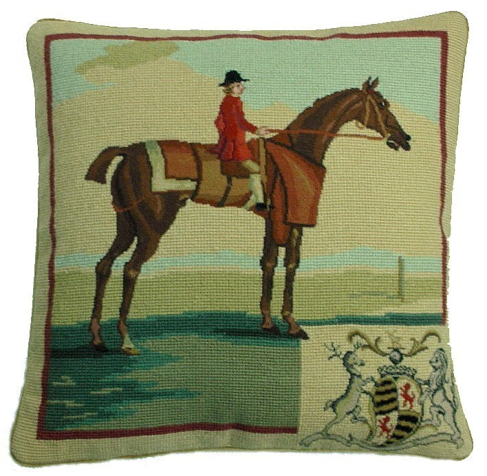 "AA- Red Rider - 17 x 17 "" needlepoint pillow"