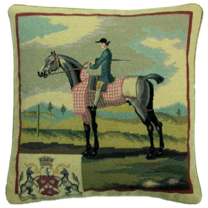 "Blue Rider - 17 x 17 "" needlepoint pillow"