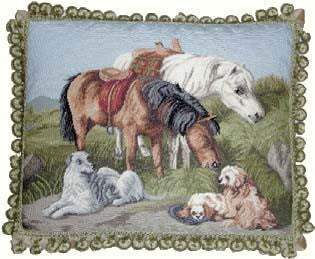 "Man's Best Friends - 16 x 20 "" needlepoint pillow"