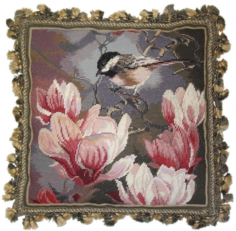 "AA- Sparrow with Pink - 18 x 18 "" needlepoint pillow"