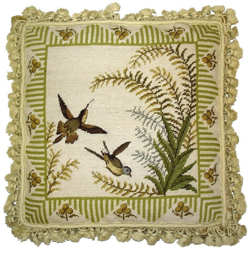 "AA- Two Flying Birds - 18 x 18 "" needlepoint pillow"