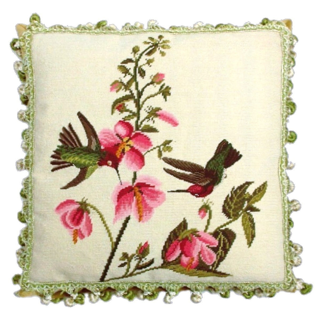 "AA- Two Hummers and Flowers - 20 x 20 "" needlepoint pillow"