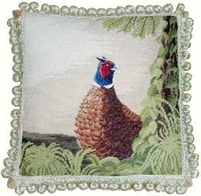 "Large Pheasant - 17 x 17 "" needlepoint pillow"