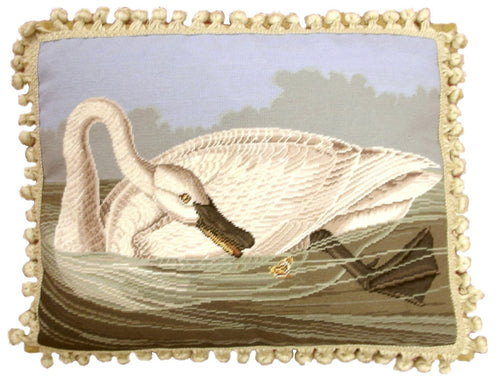 Swan Looking Back - 16 x 20 in. needlepoint pillow