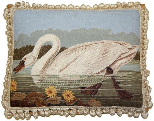 Swan Looking Ahead - 16 x 20 in. needlepoint pillow