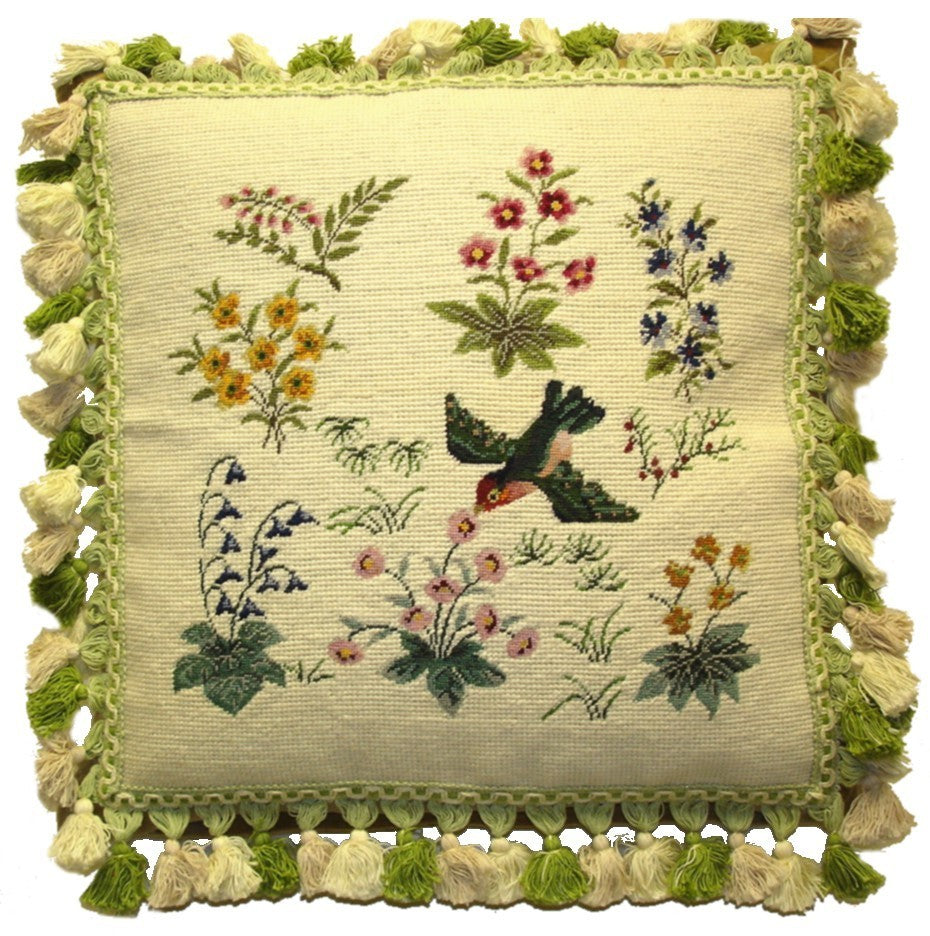 "Flying Bird with Pale Green - 16 x 16 "" needlepoint pillow"