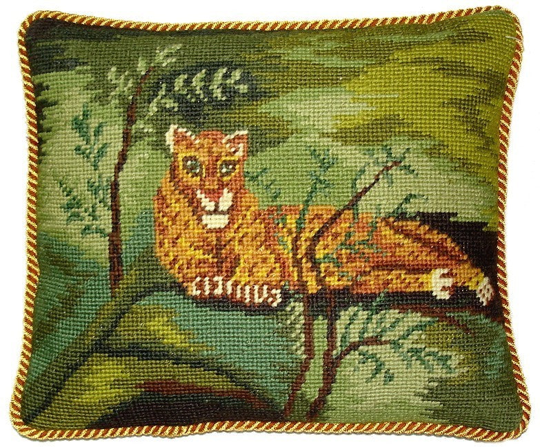 "Cheetah on Green - 10 x 12 "" needlepoint pillow"