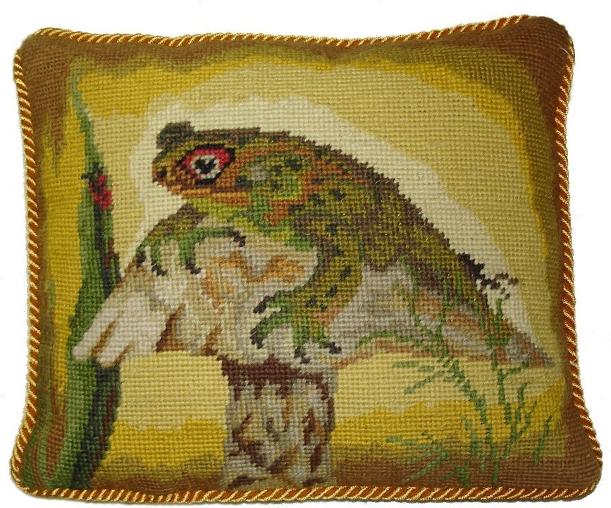 "Green Frog on Toadstool - 10 x 12 "" needlepoint pillow"