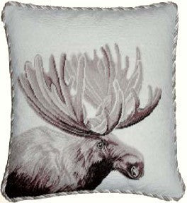 "AA- Moose - 17 x 17 "" needlepoint pillow"