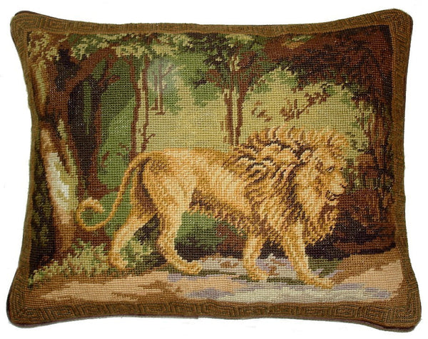 "Lion in Woods - 14 x 18 "" needlepoint pillow"