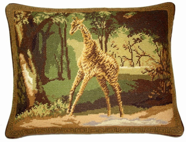 "Giraff - 14 x 18 "" needlepoint pillow"