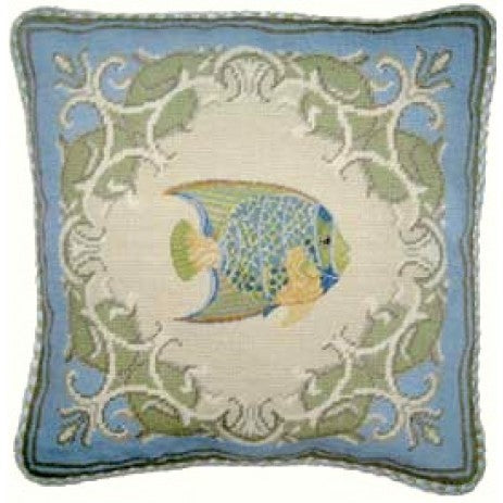 Beauty in Blue - 17 x 17 in. needlepoint pillow