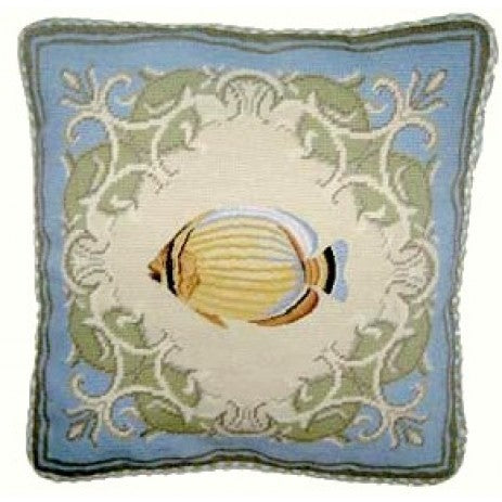 Yellow Fish in Blue - 17 x 17 in. needlepoint pillow