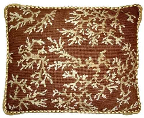 Coral on Brown - 17 x 21 in. needlepoint pillow