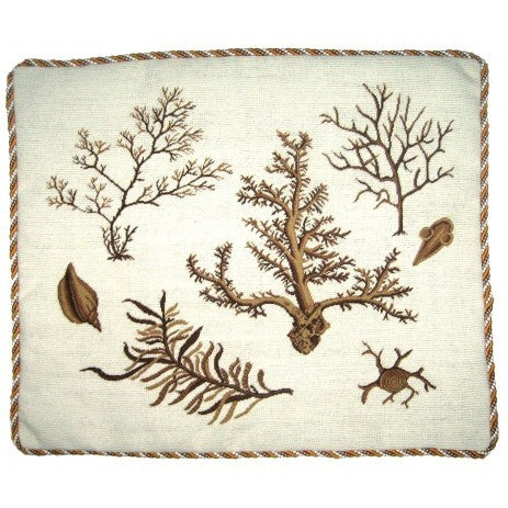 Corals on White - 21 x 25 in. needlepoint pillow