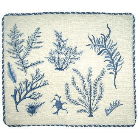 Corals in Blue - 21 x 25 in. needlepoint pillow