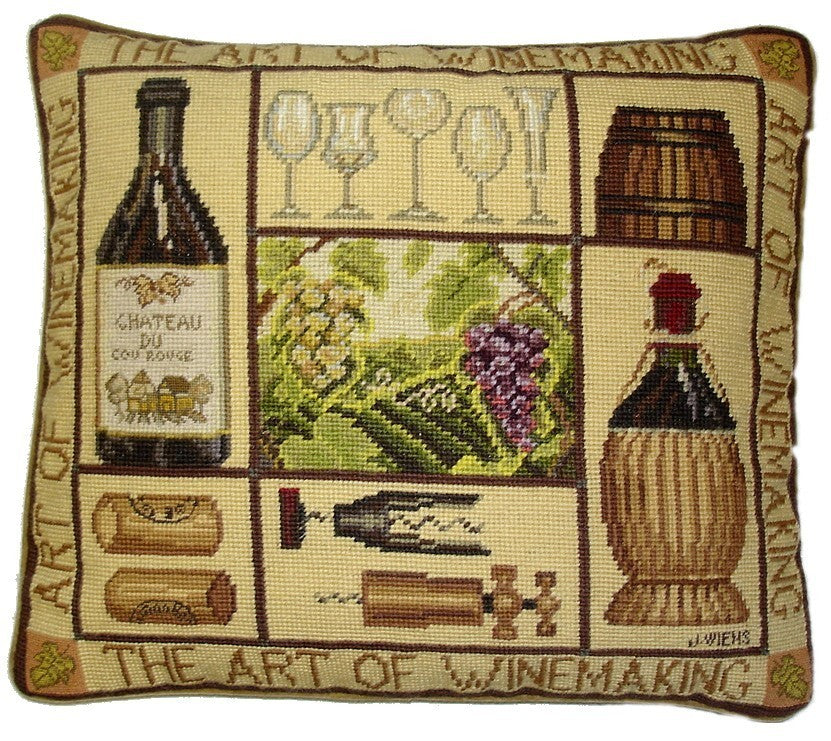 "Fine Wines - 16 by 18 "" needlepoint pillows"