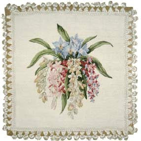 "Delicate Orchids - 18 x 18 "" needlepoint pillow"