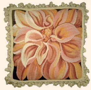 "Large Chrysanthemum - 18 x 18 "" needlepoint pillow"