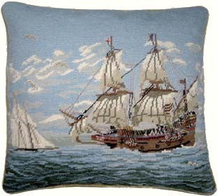 Two Ships - 17 by 19 in. needlepoint pillow