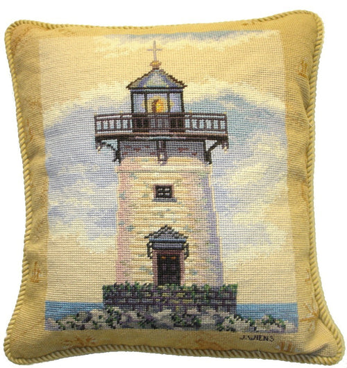 Lighthouse in Blue - 18 x 18 in. needlepoint pillow
