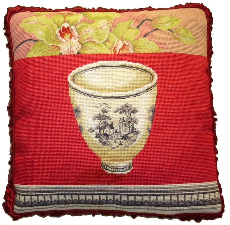 "Bowl on Red - 20 x 20 "" needlepoint pillow"