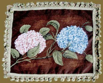 "AA- Royal Hydrangea - 16 x 20 "" needlepoint pillow"