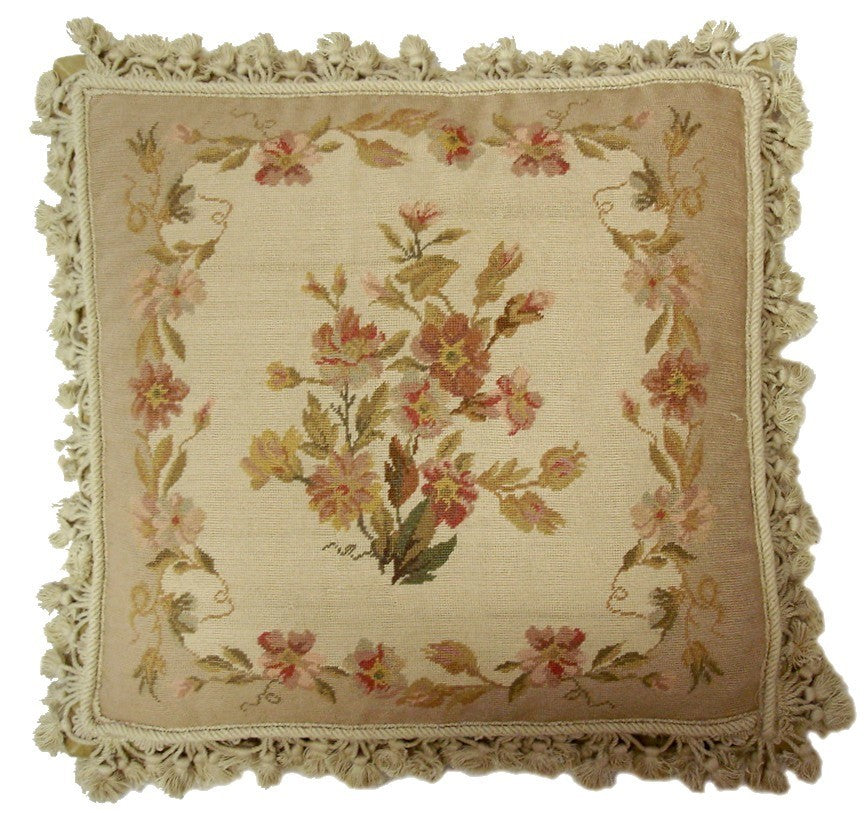"AA- Subdued Pinks - 20 x 20 "" needlepoint pillow"