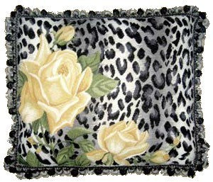 "AA- Yellow Rose on Leopard - 19 x 23 "" needlepoint pillow"