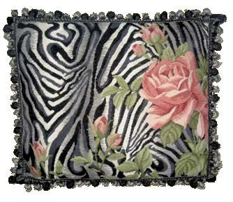 "Pink Roses on Zebra - 19 x 23 "" needlepoint pillow"