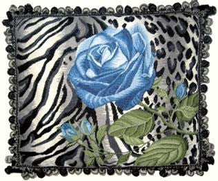 Blue Rose on Leopard - 19 x 23 in. needlepoint pillow