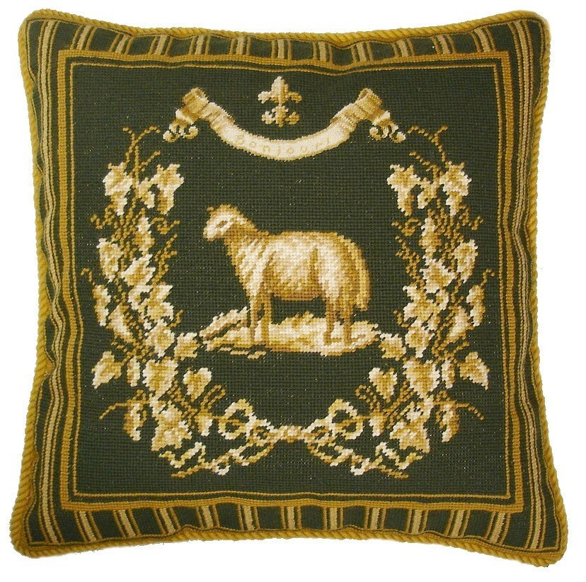 "AA- Sheep on Green - 19 x 19 "" needlepoint pillow"