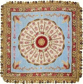 "Circle of Red on Blue - 24 x 24 "" needlepoint pillow"
