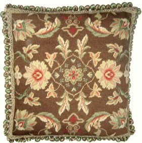 "AA- Whie Flowers on Brown - 20x 20 "" needlepoint pillow"