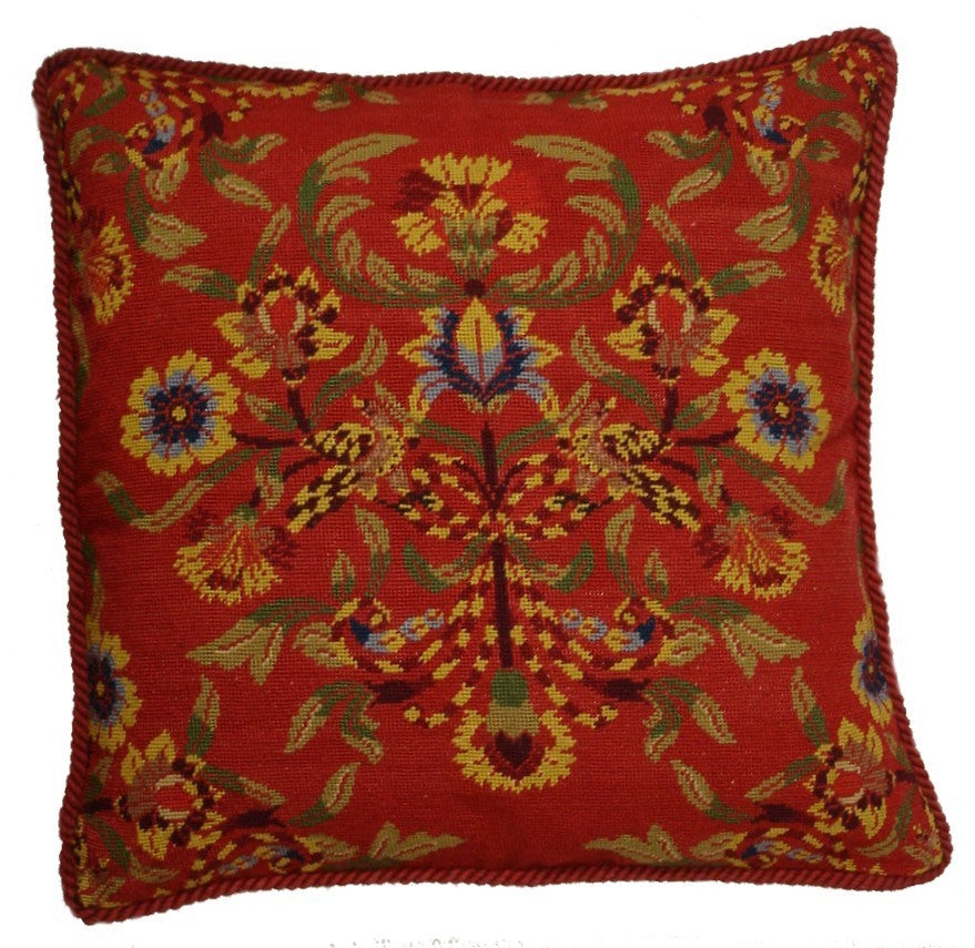 "Brightly Red - 23 x 23 ""  needlepoint pillow"