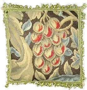 Pink Fruit - 18 x 18 in. needlepoint pillow