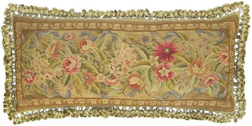 Pink Flowers on Gold - 14 x 36 in. Aubusson pillow