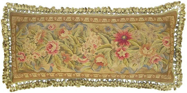 "Pink Flowers on Gold - 14 x 36 "" Aubusson pillow"