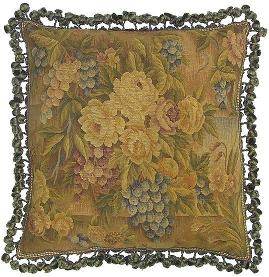 "AA- Roses and Grapes - 22 x 22 "" Aubusson pillow"