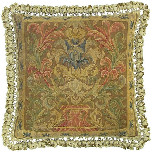 Pinks on Golden Green - 22 x 22 in. Aubusson pillow
