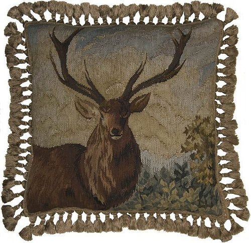 Mighty Elk - 22 x 22 in. Aubusson pillow