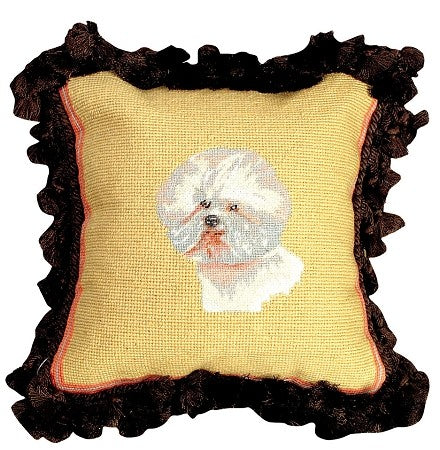 "Bichon 12"" x 12"" Mixed-Stitch Needlepoint Pillow"