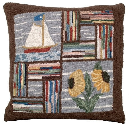 Booth Bay Sailboat 18x18 inches hooked pillow