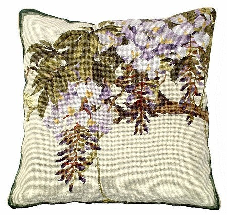AA- Wisteria 18 x18 needlepoint pillow