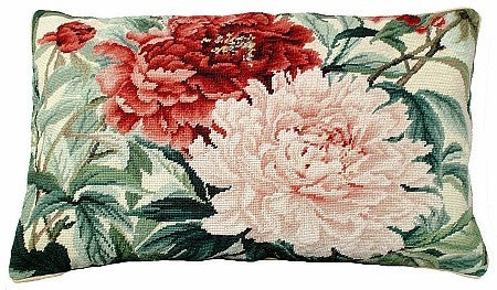 Double Peonies 16 x 28 needlepoint pillow