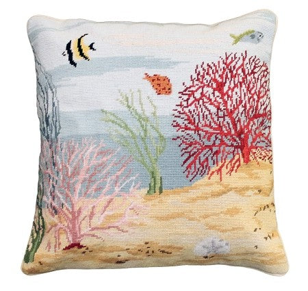 "Coral Reef Left 18"" x 18"" Needlepoint Pillow"
