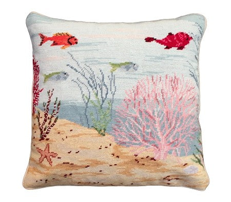 "Coral Reef Right 18"" x 18"" Needlepoint Pillow"