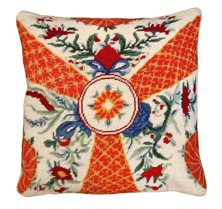 "Imari Flowers 18"" x 18"" Needlepoint PIllow"