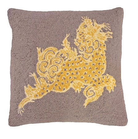 "Dragon Sepia 20"" x 20"" Hooked Pillow"